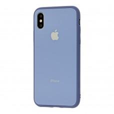 Чехол для iPhone X/Xs Glass Pastel Color Logo Lavander Gray