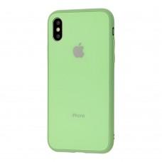 Чехол для iPhone X/Xs Glass Pastel Color Logo Mint