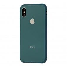 Чехол для iPhone X/Xs Glass Pastel Color Logo Pine Green