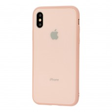 Чехол для iPhone X/Xs Glass Pastel Color Logo Pink Sand
