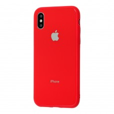 Чехол для iPhone X/Xs Glass Pastel Color Logo Red