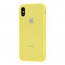 Чехол для iPhone X/Xs Glass Pastel Color Logo Yellow