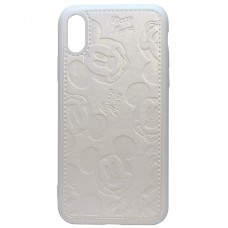 Чехол iPhone X/XS Mickey Mouse Leather White