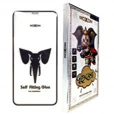 Защитное 3D стекло Moxom для iPhone Xr/11 прозрачное с черными рамками
