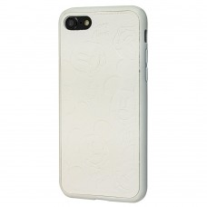 Чехол iPhone 7/8 Mickey Mouse Leather White