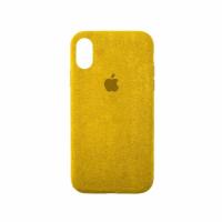 Стильный чехол Alcantara Full Cover для Yellow для iPhone Xs Max