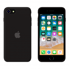 Силиконовый чехол Apple Silicone Black для iPhone SE 2 с закрытым низом