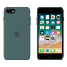 Силиконовый чехол Apple Silicone Pine Green для iPhone SE 2 с закрытым низом