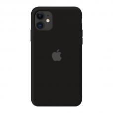 Силиконовый чехол c закрытым низом Apple Silicone Case Black для iPhone 11