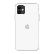 Силиконовый чехол c закрытым низом Apple Silicone Case White для iPhone 11