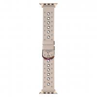 Кожаный ремешок Hermes с заклепками Pink