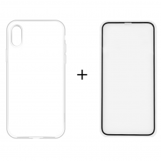 Набор: Прозрачный силиконовый чехол + стекло