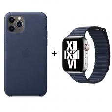 Набор 1 + 1: Кожаный чехол и кожаный ремешок для Apple Watch