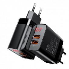 СЗУ BASEUS Mirror Lake Dual QC Digital Display quick Charger 2USB/3A/QC Black