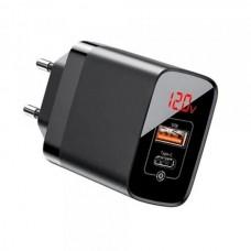 СЗУ BASEUS Mirror Lake PPS Digital Display quick Charger Type-C/USB/3A/QC Black